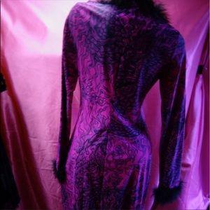 Betsey Johnson Frankie Purple marabou feather coat